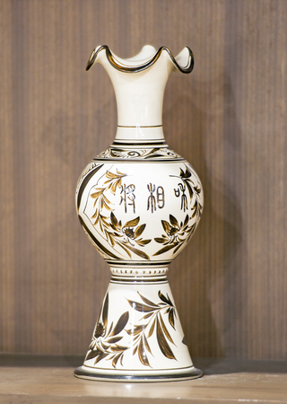 Modern porcelain displaying in a museum