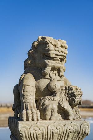 stone lion: Lugou Bridge stone lions, Beijing, China Stock Photo