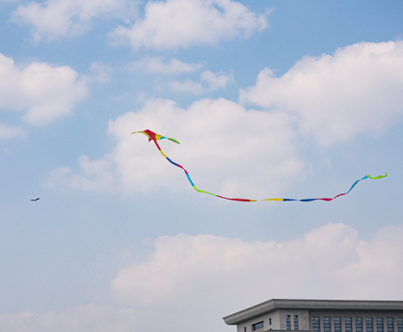 Kite flying in the clear blue sky