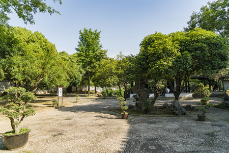 Outdoor garden view of the former residence of Feng Guifen in Suzhou, China