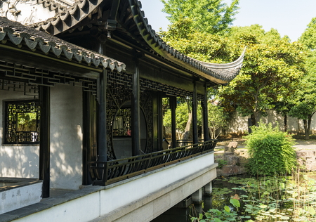 Exterior garden view of the former residence of Feng Guifen in Suzhou, China Editorial