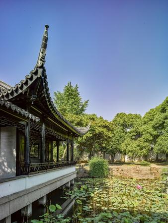 Exteriér zahradní pohled na bývalou rezidenci Feng Guifen v Suzhou, Čína