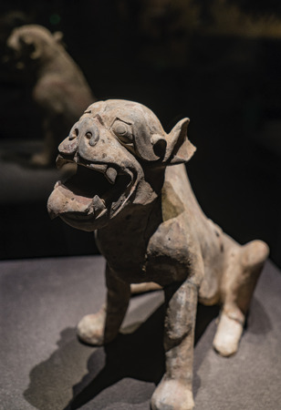Chinas Shanxi Province, Datong, Datong Museum, collection of cultural relics, Northern Wei, painted pottery town tomb beast Editorial
