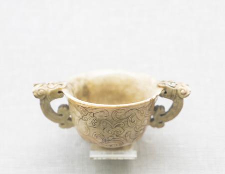 the jade from Qing Dynasty at Shanxi Museum, Shanxi Province, Taiyuan City, China. Editorial