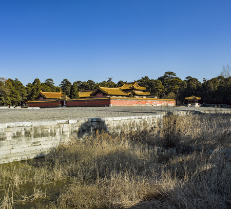 Landscape view of an ancient city in a rural area