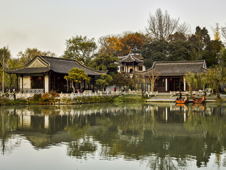 Landscape scenery view of West Lake in Yangzhou city of China