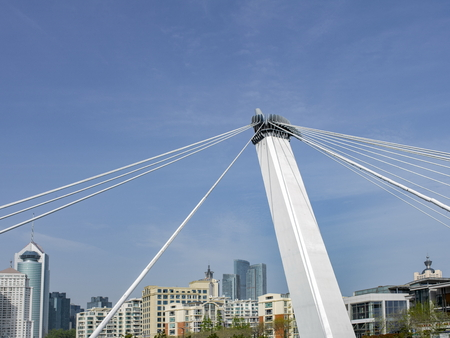 Cable-stayed bridge at qingdao city Stock Photo