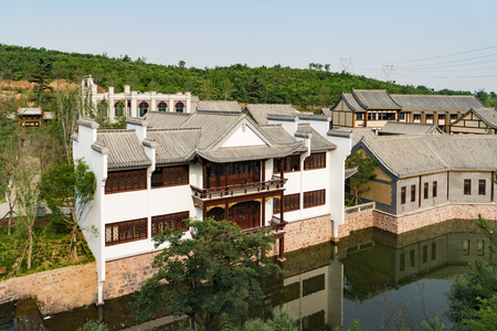 The Western Evergreen Tourist Resort is a comprehensive tourist resort with six functions of comprehensive reception, ecological sightseeing, folk culture, business services, recreation and fitness, and leisure residence in Luquan District of Shijiazhuang City. Stock fotó - 106279164