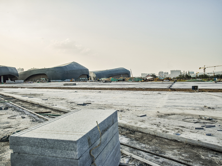 China, Shanxi Province, Datong City, Datong City Sports Center under construction.