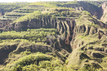 Shaanxi Luochuan Loess National Geological Park at Luochuan County, Shaanxi Province, Yanan City, China. Stok Fotoğraf