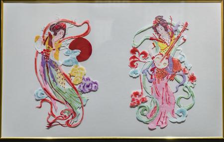Yuxian paper-cut of Zhou Zhiwangs works Flying Heavenly Girl at Yuzhou Museum