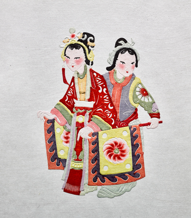 Yuxian paper-cut, Wang Laosuo works, drama characters at yuzhou museum Editorial
