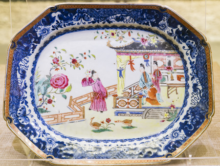 Qing Dynasty blue and white porcelain plate at Daming Palace National Relics Museum