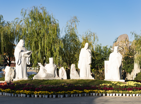 China, Henan Province, Kaifeng City, China Hanyuan Scenic Area, ancient calligraphy master statue