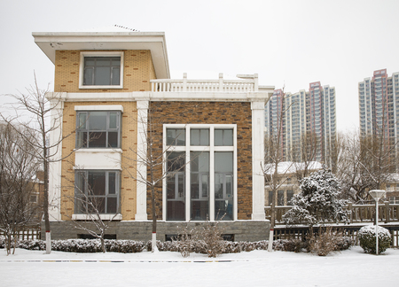 China, Shijiazhuang City, Hebei Province, snow scene at Residential area