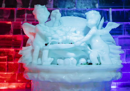 Ice sculpture world exhibition in Shijiazhuang city botanical garden at Hebei province, China.