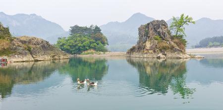 Yongjia Nanxijiang at Zhejiang, China. Фото со стока