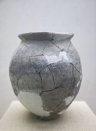 Gray clay pot in Liaocheng China canal cultural museum at Shandong province, China.