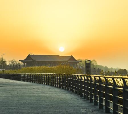 China, Hebei Province, Shijiazhuang City, Luhe River Wetland scenery