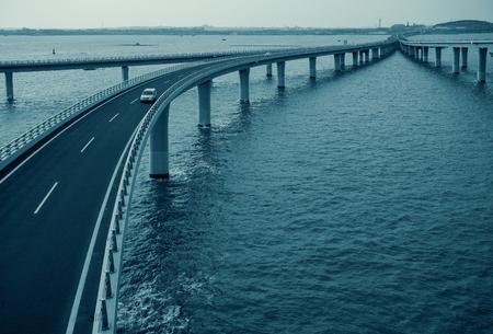 Shandong Province, Qingdao, Hongdao, Jiaozhou Bay Bridge Editorial