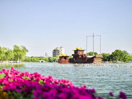 China, Shandong Province, Jinan City, Daming Lake Scenic Area cruise ship