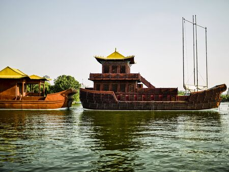 China, Shandong Province, Jinan City, Daming Lake Scenic Area cruise ship 版權商用圖片