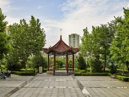 Garden scenery at Shijiazhuang city, Hebei province, China.