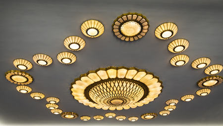 Hebei Provincial Museum hall ceiling lights close up