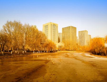 Century Park scenery at Shijiazhuang City, China.