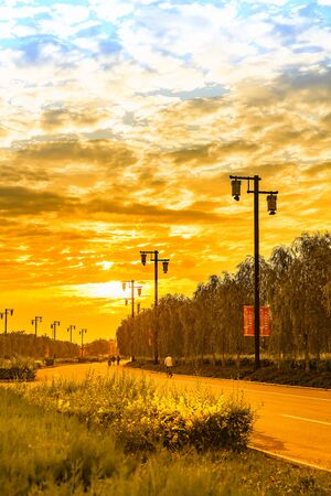China, Hebei Province, Zhangjiakou City, Yu County, urban scenery under sunset