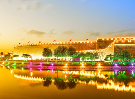 China, Hebei Province, Shijiazhuang City, Zhengding Ancient City Night Scene