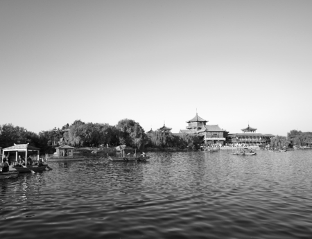 China, Henan Province, Kaifeng City, ancient town with river scenery
