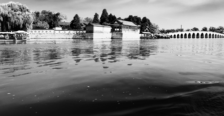 China, Beijing,  Summer Palace lake view 에디토리얼
