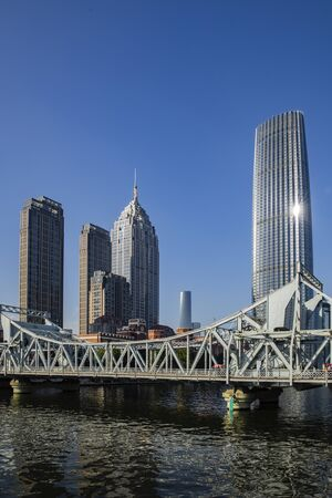 China, Tianjin, Haihe Jiefang Bridge 版權商用圖片
