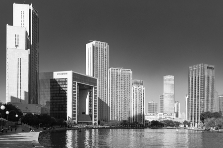 China, Tianjin, Haihe scenery 版權商用圖片 - 129746108