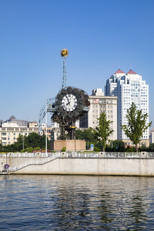 China, Tianjin, Modern architecture with Century clock