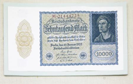 China, Tianjin, Tianjin Financial Museum collection of cultural relics, German Weimar Republic banknote mark 版權商用圖片 - 129868878