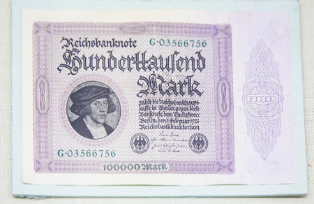 China, Tianjin, Tianjin Financial Museum collection of cultural relics, German Weimar Republic banknote mark 版權商用圖片 - 129868879