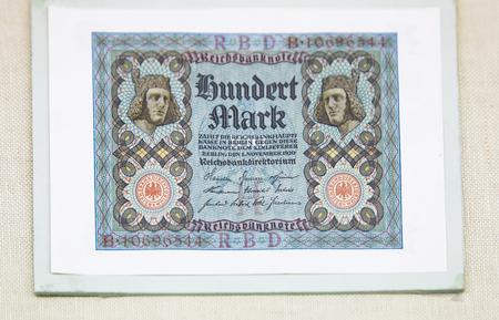 China, Tianjin, Tianjin Financial Museum collection of cultural relics, German Weimar Republic banknote mark 新聞圖片