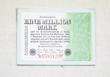 China, Tianjin, Tianjin Financial Museum collection of cultural relics, German Weimar Republic banknote mark 版權商用圖片 - 129868881