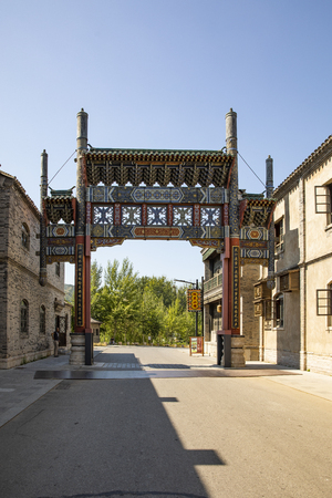 China, Beijing, Miyun District, Gubei Water Town painted archway