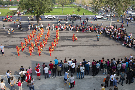 China, Hebei Province, Shijiazhuang City, Zhengding Ancient City with citizens drums performing to celebrate National Day