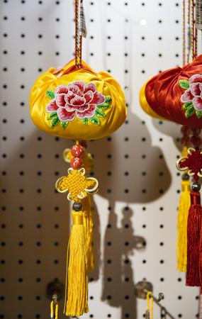 China, Henan Province, Luoyang City, Luoyang Museum, Peony Embroidery Bag Stock Photo - 133268227