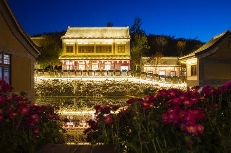 China, Hebei Province, Shijiazhuang City, Western Evergreen Tourist Resort night view