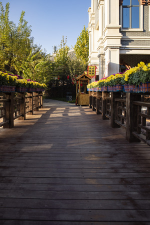 China, Hebei Province, Shijiazhuang, Wooden Boardwalk at West Changqing Tourist scenic area,