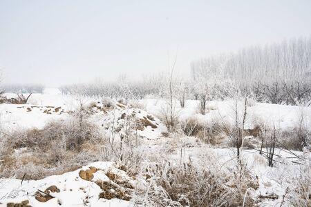 Luliang City rural Snow at Wenshui County, Shanxi Province, China. Фото со стока - 139890875