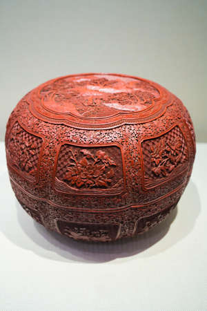 China, Henan Province, Kaifeng City, Kaifeng Museum, collection of cultural relics, Qing Dynasty, red carving lacquer, landscape figures, flowers and sunflower boxes 新聞圖片