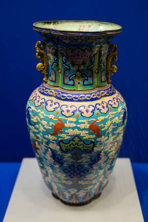 Painted enamel flower amphora from Qing Dynasty at Kaifeng Museum, Kaifeng City, Henan Province, China.