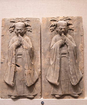 relief ceramic tiles from Song Dynasty at Kaifeng Museum, Kaifeng City, Henan Province, China.