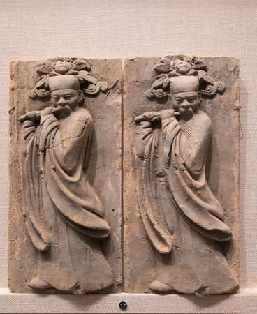 relief ceramic tiles from Song Dynasty at Kaifeng Museum, Kaifeng City, Henan Province, China. Stock fotó - 155376503